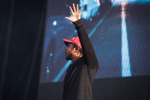Singer and rapper Kendrick Lamar performs live on Saturday July 4 2015 at Wireless Festival in Finsbury Park, London, UK